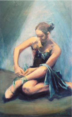 - SOLD - Preparing for the Dance, oil on canvas