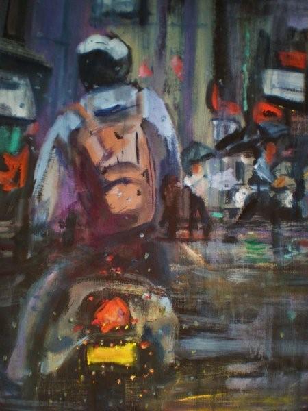 Wet City 1, oil on streched canvas, 60cm x50cm