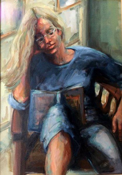 A Good Book, oil on canvas, 60cm x 70cm