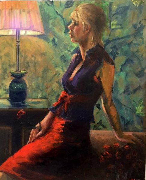 By Lamp Light, oil on canvas board, 50cm x 65cm