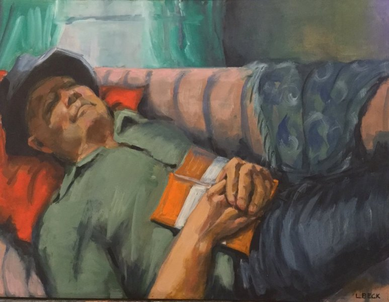 Sunday Afternoon Snooze. oil on board, 60cm x 45cm
