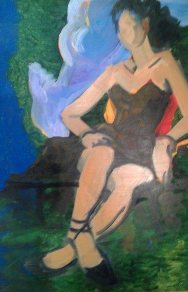 -SOLD- The Little Black Dress, oil on board