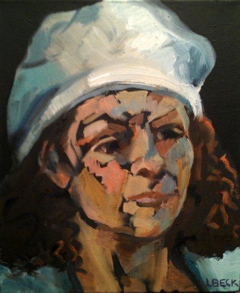 - SOLD -The Cream Beret, oil on canvas, 25cm x 25cm