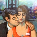 -SOLD - Love in the Workplace , oil on board, 55cm x65cm