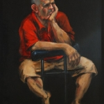 - SOLD - The-pool-player, oil on canvas Very Highly Commended Drummoyne Art Society Prize