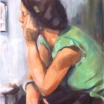 - SOLD - Waiting, oil on canvas