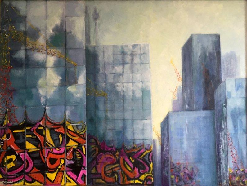 Graffiti City, oil on canvas, 120cm x 90cm