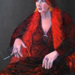 The Lady in Red, oil80cm x 120cm on canvas,