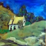 - SOLD -Little church outside Stroud, oil on canvas, 30cm x30cm