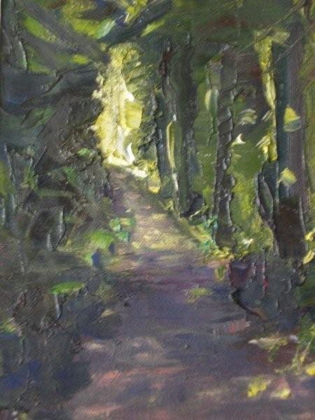 Dappled Forest Path, oil on canvas