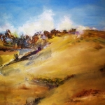 - SOLD - Bathurst Fields, oil on Paper