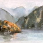 _ SOLD _ Lake Como, pastel,  25cm x 20cm