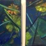 Pond Study diptych, oil on canvas, 45cm x 55cm