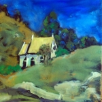 - SOLD - Little Church outside Stroud,ioil on canvas, 25cm x25cm
