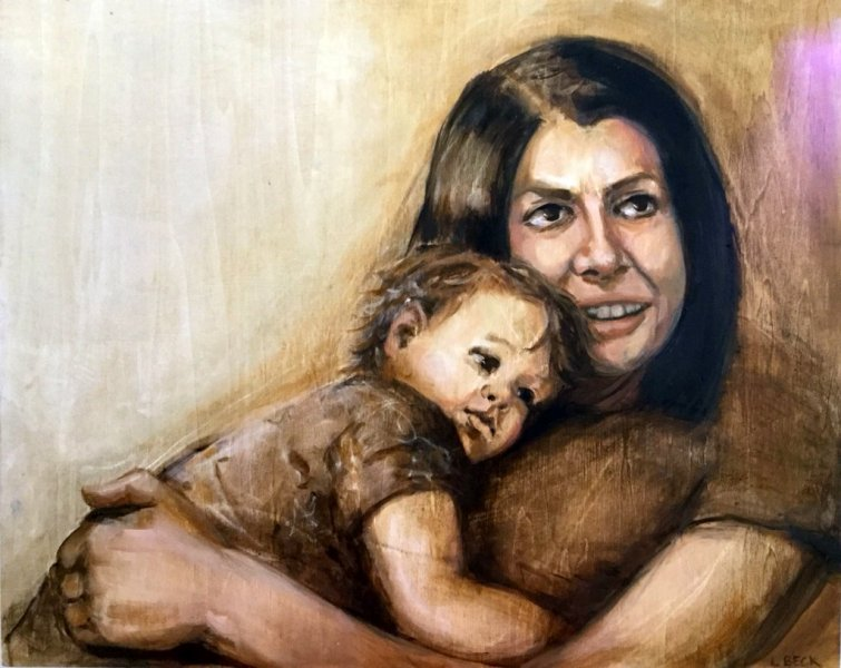 SOLD - Mother and boy, oil on marine ply, 55cm x 70cm