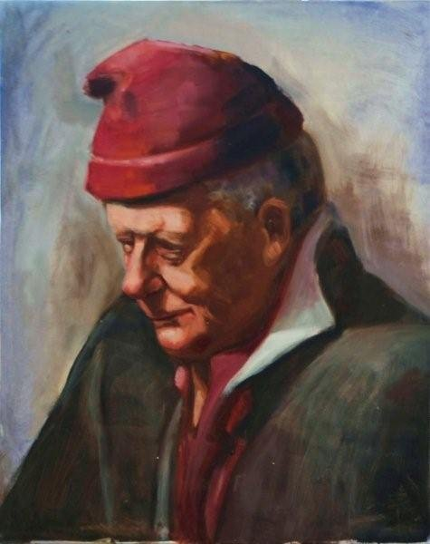 The Red Hat, oil on canvas - featuring in The Artists\' Book - celebrating 10 years of Portrait Artists Australia