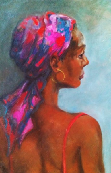 - SOLD -The Pink Paisley Scarf, oil on canvas, 50cm x 60cm