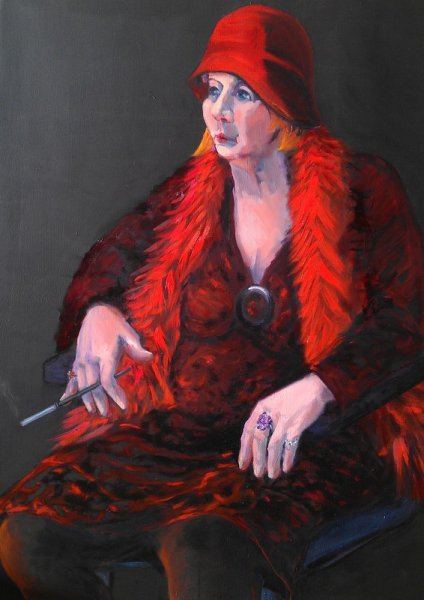 The Lady in Red, oil on canvas, 90cm x120cm