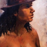 Amber in Hat, oil on canvas