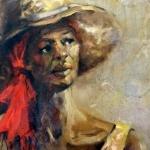 - Sold - Benedicta, oil on canvas, 50cm x 65cm