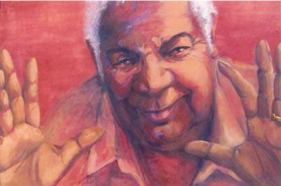 -SOLD - Jimmy Little - A great Australian, oil on canvas