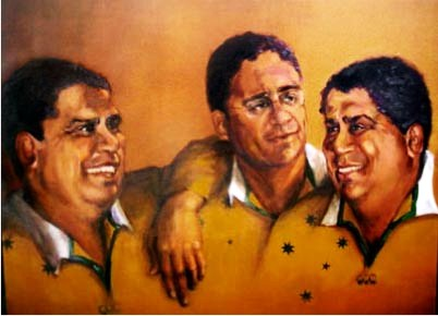 -SOLD -The Ella Bothers - Masters of Rugby,  oil on canvas