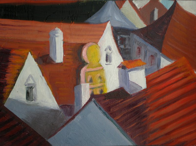 - SOLD -Prague Rooftops 1. Oil on canvas - SOLD