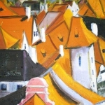 Prague Rooftops 11, oil on canvas