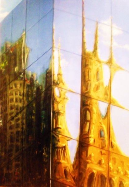 City\'s Heart - The Old and the New,  oil on canvas