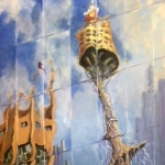 Tower Tango, oil on stretched canvas, 60cm x 80cm, $900