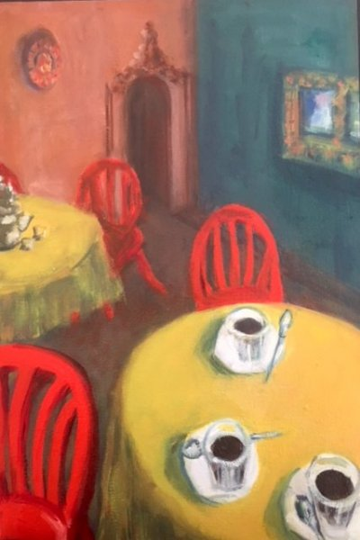 - SOLD - Cafe Morocco, oil on canvas.30cm x 45cm, $400