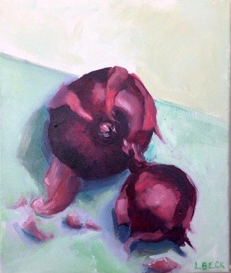- SOLD - Spanish Onion, oil on canvas, 20cm x 25cm