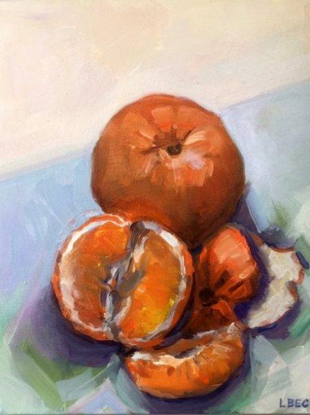 - SOLD -Juicy Orange, oil on canvas, 20cm x 25cm