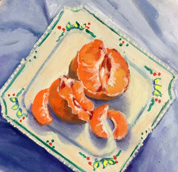- SOLD -Mum\'s Old Plate, oil on canvas 25cm x 30cm   $275