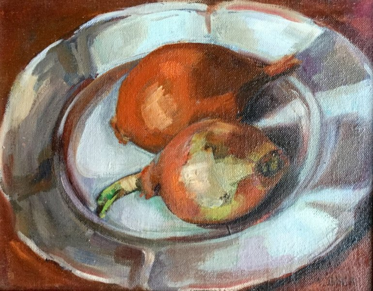 - SOLD - Brown onions. oil on canvas, 20cm x 25cm