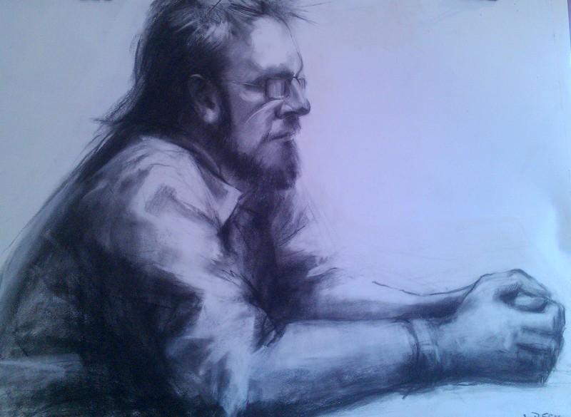 I\'m Listening, Charcoal on wc paper, 60cm x50cm