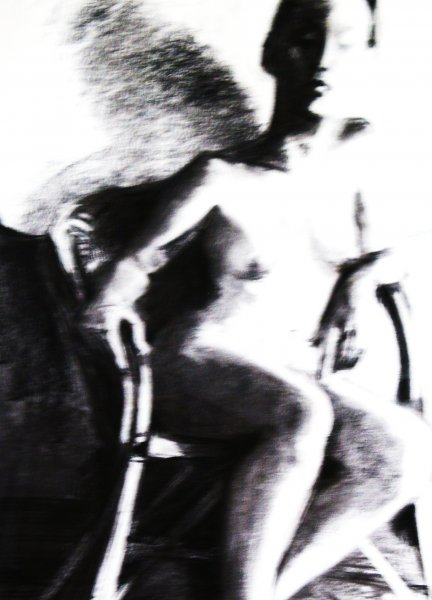 Seated Nude, charcoal on wc paper, framed under glass , 95cm x 80cm.  First Prize Lance Cove Art Exhibition 2012