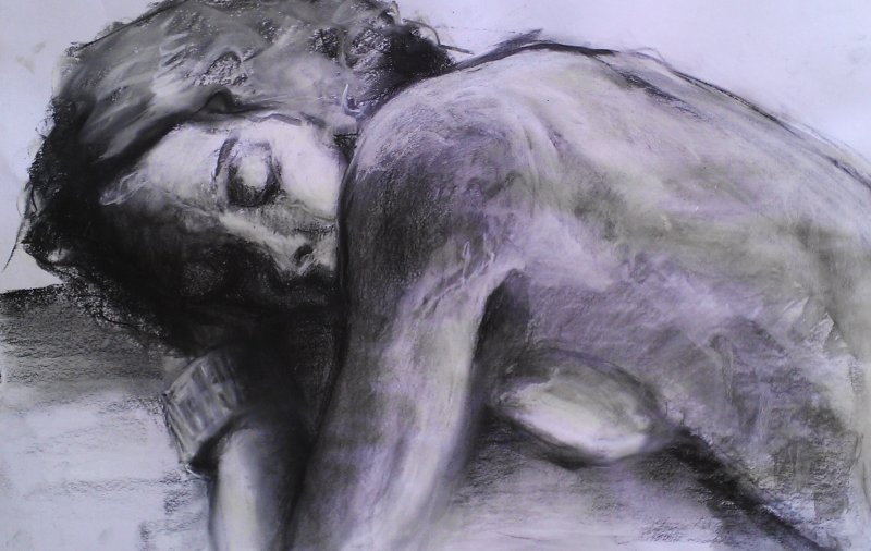 SOLD -Dreaming 1 , mixed media on paper, 60cm x 40cm