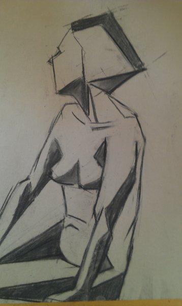 Miss Art Deco, charcoal on paper, 60cm x 40cm