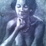 Rita, charcoal on w c paper, 60cm x 40 cm