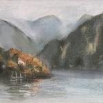 -SOLD- Lake Como, pastel, 25cm x 30cm