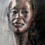 - SOLD- Benedicta, mixed media, 60cm x 40cm, w/c paper